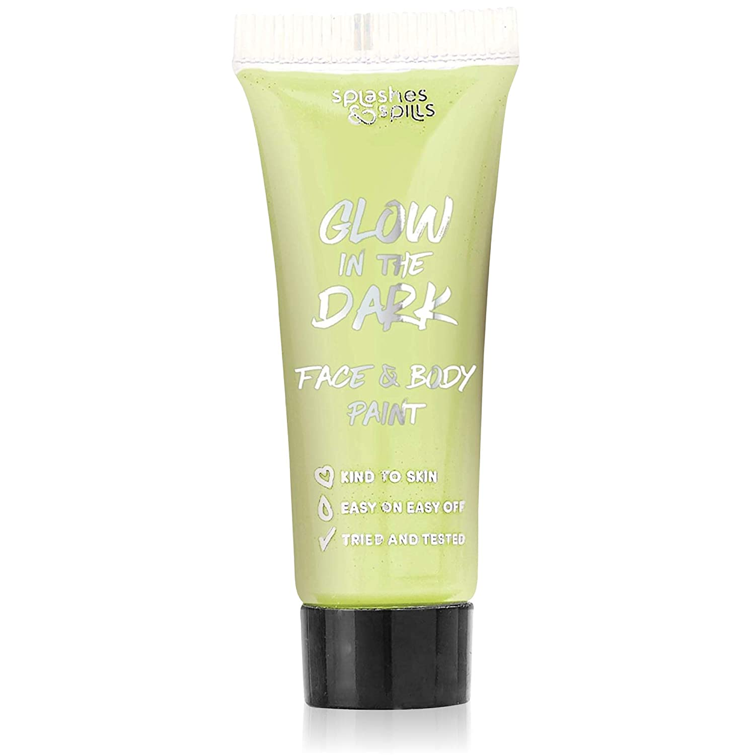 Glow in the Dark Face and Body Paint - Party, Costume and Halloween Makeup - Safe for All Skin Types - Easy On and Off - 0.34oz - by Splashes & Spills