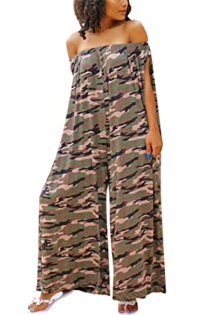 a4ecd6908fc9 DingAng Women s Jumpsuits Off The Shoulder Camouflage Print Loose Wide Leg  Pants Jumpsuit Romper with Pockets