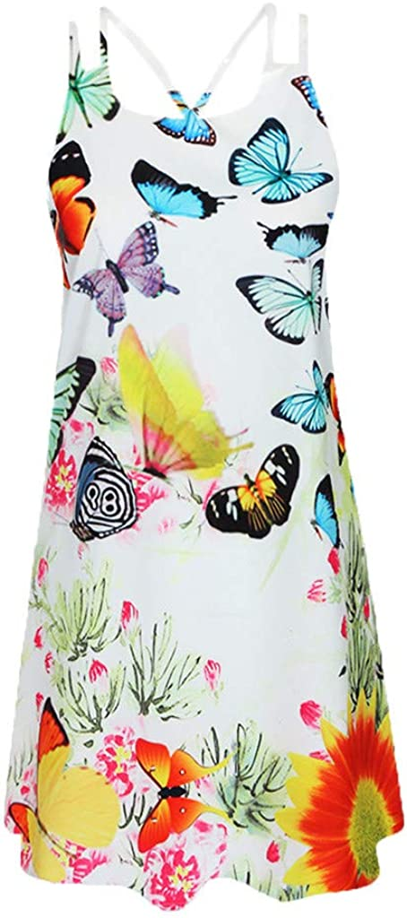 Xinantime Womens Vintage Boho Camisole Dresses Ladies Summer Sleeveless Beach Printed Short Mini Dress