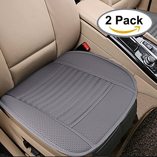 Breathable 2pc Car Interior Seat Covers Cushion Pad Mat for Auto Supplies Office Chair with PU Leather(Grey) (Grey Pad)