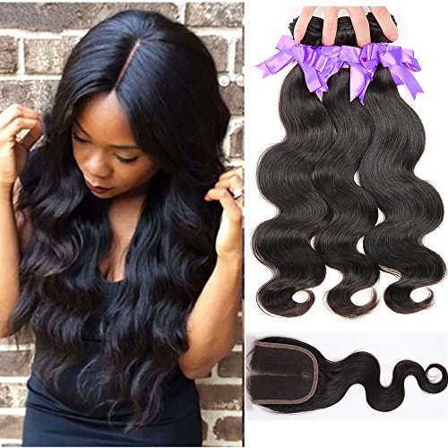 Satai Malaysian Body Wave with Closure 10-26 Inches Body Wave Human Hair Bundles with Middle Part and Free Part Lace Closure (14 16 18 with 12, free part #1b)
