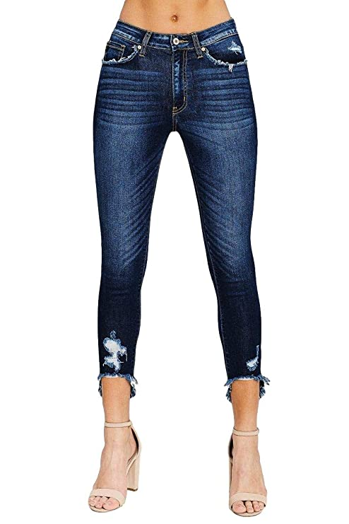 0f4f1681d0 KanCan Women's High Rise Dark Wash Distressed Skinny Jeans Hi Low Frayed  Cropped Hems at Amazon Women's Jeans store