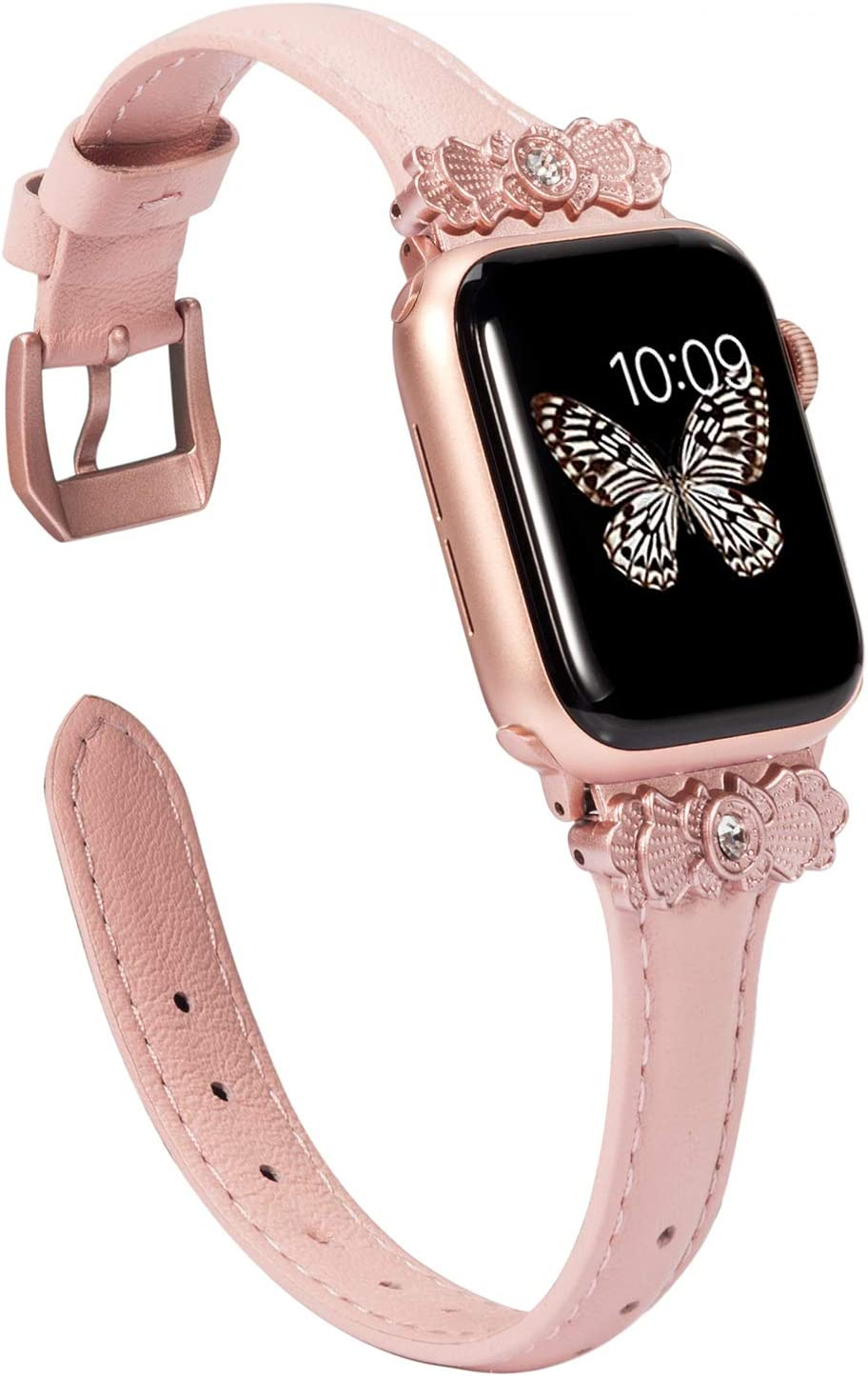 Wearlizer Thin Leather Compatible with Apple Watch Band 42mm 44mm for iWatch SE Womens Slim with Unique Metal Decoration Strap Stylish Wristband (Rose Gold Clasp) Series 6 5 4 3 2 1-Rose Pink