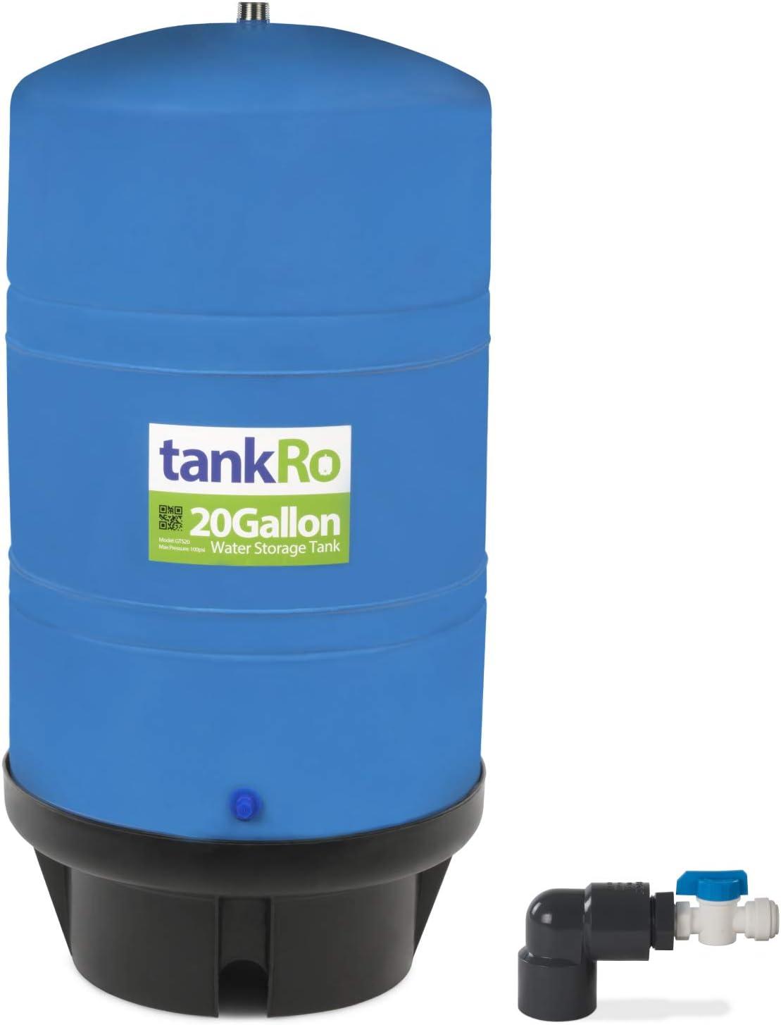 20 Gallon RO Expansion Tank – Large Reverse Osmosis Water Storage Pressure Tank by tankRO – with FREE Tank Ball Valve