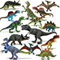 "Joyin Toy 18 Pieces Educational Realistic Dinosaur Figures with Movable Jaws Including T-rex, triceratops, velociraptor, etc (6 "" to 9"")"