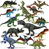 """Joyin Toy 18 Pieces 6"""" to 9"""" Educational Realistic Dinosaur Figures with Movable Jaws Including T-rex, triceratops, velociraptor, etc"""