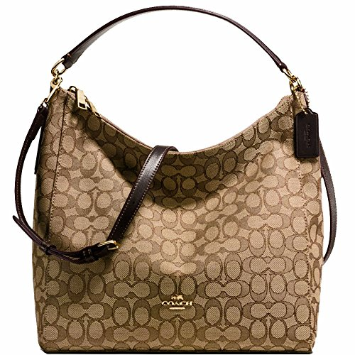 SALE ! New Authentic COACH Monogram Elegant Khaki/Brown Leather Trim Shoulder Bag Crossbody