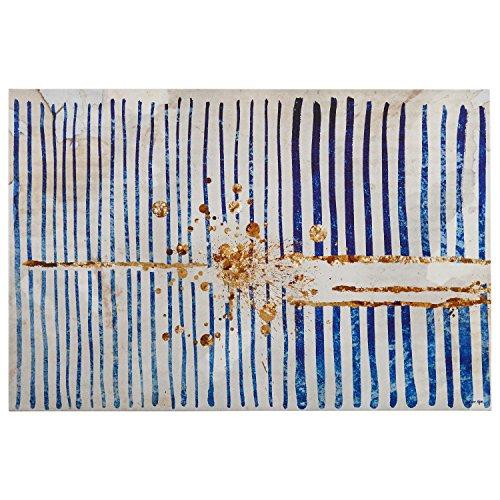 Blue Stripes and Gold Burst Canvas Print, 45'' x 30'' by Rivet