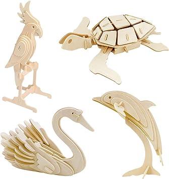 K9CK Caja de 4 Animales, Juguetes de Tortuga de Madera Modelo Loro ...