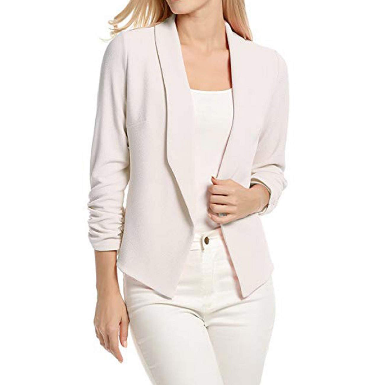 Adreamess Women 3//4 Sleeve Blazer Open Front Short Cardigan Suit Jacket Work Office Ladies Business Coat Outwear