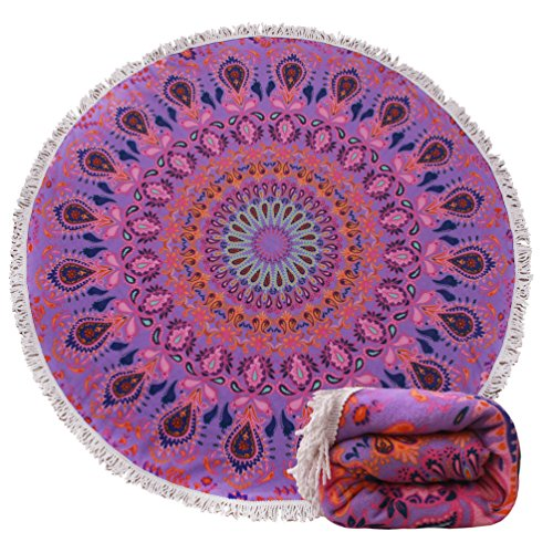 Round Beach Towel Blanket Tapestry - Purple Malanda Large Circle Thick Terry Throw Roundie Yoga Picnic Mat With Fringe Tassel For 2 Person Adult 10 Patterns - Circle Thick