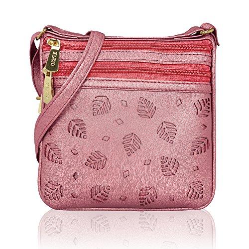 - Kleio Multi Functional Laser Cut Faux Leather Lightweight Travel Everyday Crossbody Multi Pocket Shoulder Purse Bag For Coins Make Up Keys For Women Girls (Pink)