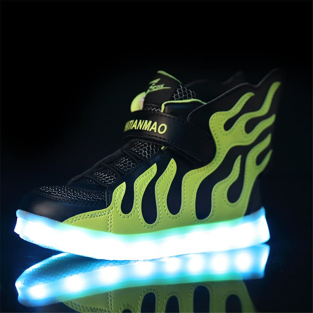 pit4tk Christmas LED Light Up Fashion Flashing Sneaker for Kids Boys Girls Black 5 M US Big Kid
