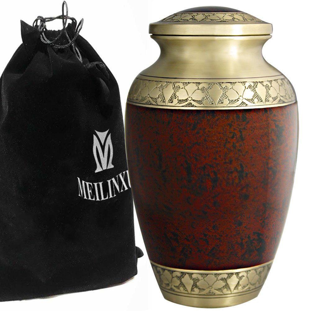 Funeral Urns for Ashes - Cremation Urn for Human Ashes Adult and Dog Urn - Hand Made in Brass & Hand Engraved - Display Burial Urn At Home or in Niche at Columbarium (Tranquility Brown, Large Urn