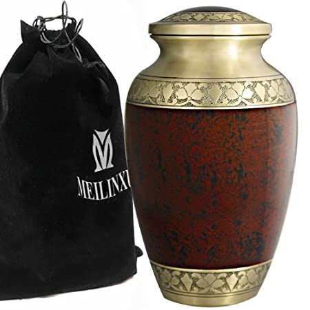 Cremation Urn for Human Ashes Adult – Brass Funeral Urn for Women or Men – Hand Engraved Golden Flower Large Urn -Display Burial at Home or in Niche at Columbarium Dad or Lover, Tranquil Life, Brown