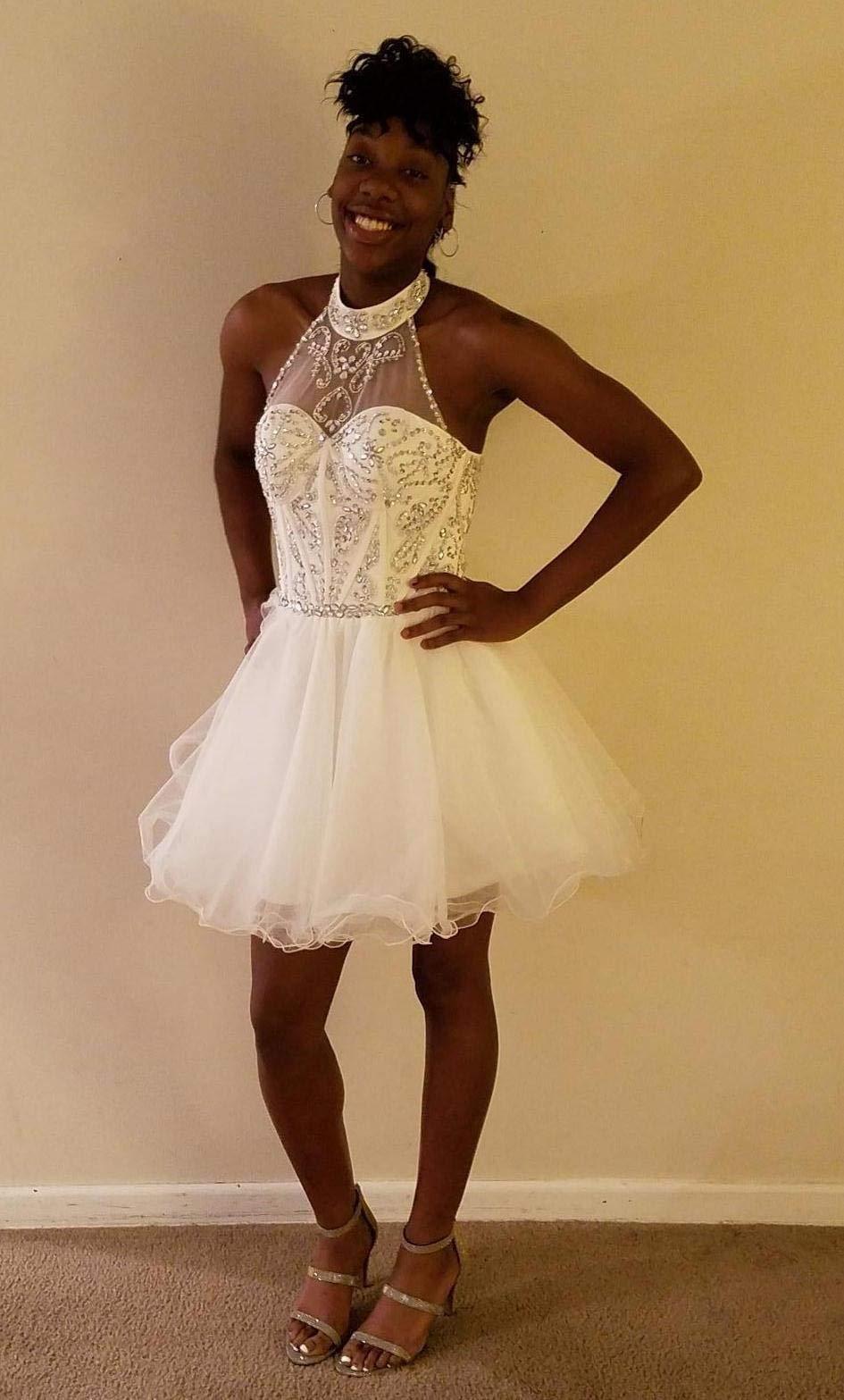 94e585a46e7 Home Prom Dresses OYISHA Women s Short Beading Halter Homecoming Prom  Dresses Backless Ivory 2.   