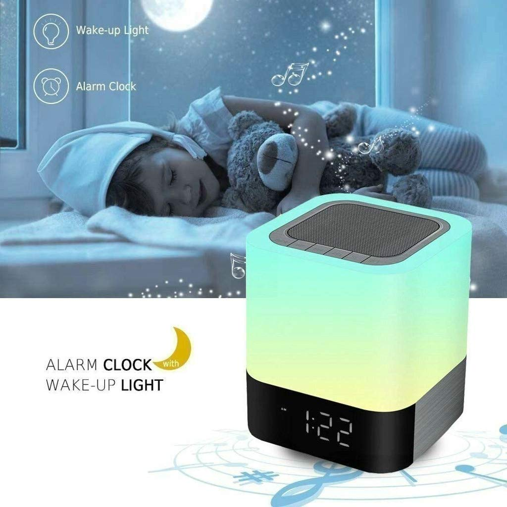 Weite 5-in-1 Wireless Bluetooth V4.0 Portable HiFi Speaker with Dimmable Smart Touch Control Color Changing Night Light, Digital Alarm Clock, MP3 Music Player, Hands Free Call (White) by Weite (Image #4)