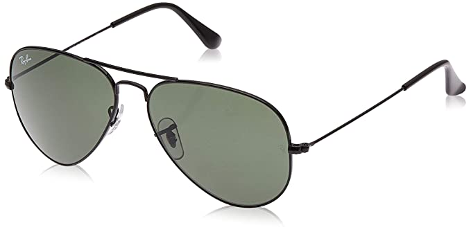 Ray-Ban Aviator Large Metal, Gafas de Sol Unisex Adulto, Negro (Black/Green), 58