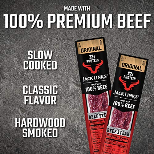 Jack Link's Premium Cuts Beef Steak, Original, Great Protein Snack with 22g of Protein and 130 Calories per Serving, Made with 100% Premium Beef, 2 Ounce (Pack of 12)
