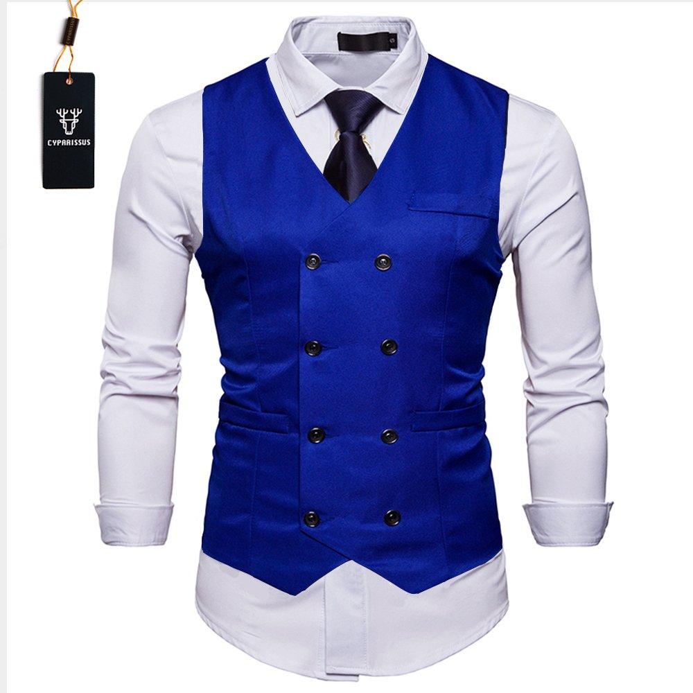 Cyparissus Mens Vest Waistcoat Men's Suit Dress Vest For Men or Tuxedo Vest (XL, Royal Blue 2#)