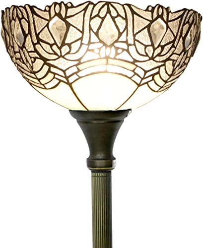 Tiffany Floor Lamp Torchiere Up Lighting W12H66 Inch White Bend Stained Glass Crystal Bead Lampshade Antique Standing Iron Base 1E26 Foot Switch S508W WERFACTORY Living Bedroom Home Office Decoration