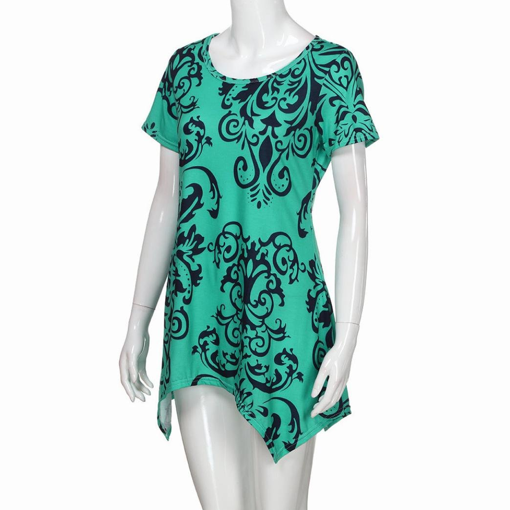 FORUU T Shirts for Women Short Sleeve Swing Tunic Summer Floral Flare Tee Blouse