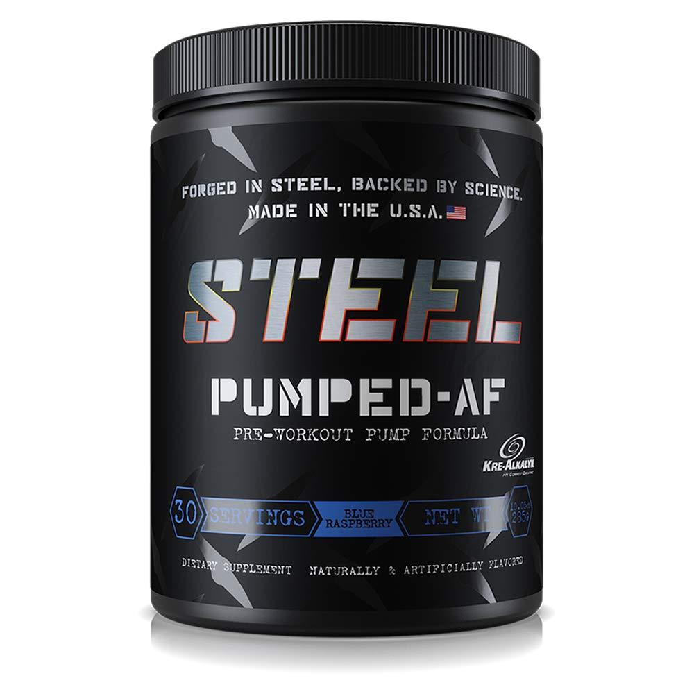 Steel Supplements Pumped-AF Pre Workout Powder Energy Drink High Intensity 30 Servings (Blue Raspberry)