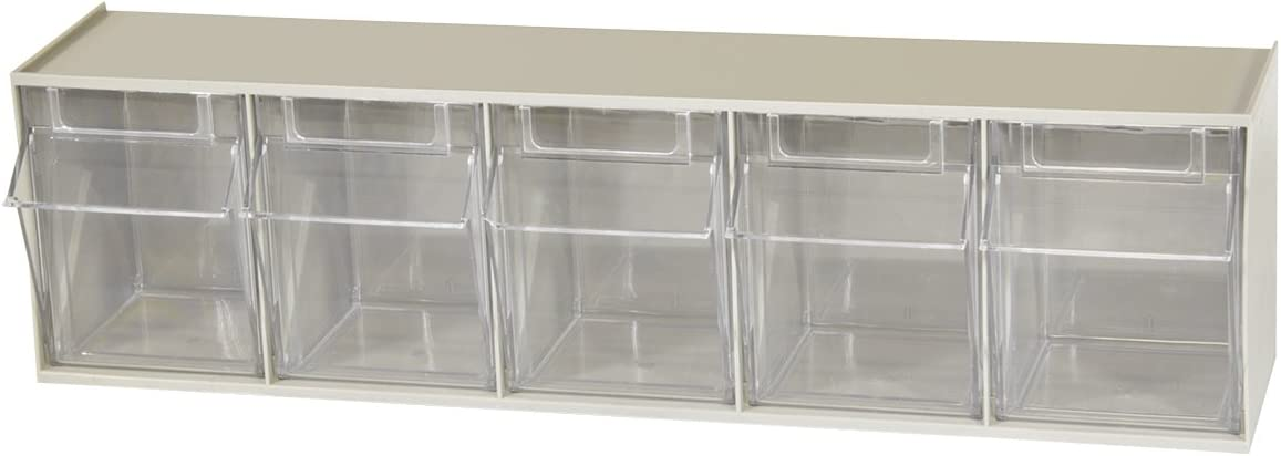 Amazon Com Akro Mils 06705 Tiltview Horizontal Plastic Storage System With Five Tilt Out Bins 23 5 8 Inch Wide By 6 1 2 Inch High By 5 1 4 Inch Deep Stone Home Improvement