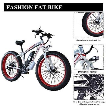 Lwestine Bicicleta eléctrica de montaña de 26 Pulgadas de batería de Litio extraíble Fat Tire E