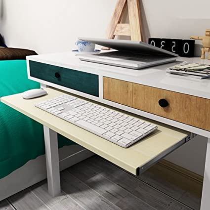 Awe Inspiring Under Desk Comfort Keyboard Drawer Platforms Furniture Office Keyboard Tray Drawers Slide Fashion Computer Table Rail Rack 24X11 White Maple Home Interior And Landscaping Ponolsignezvosmurscom