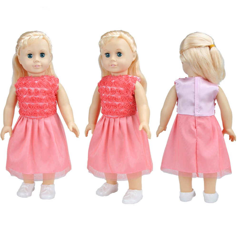 E-TING 5Pcs Fashion Gorgeous Clothes Lace Dresses Lively Outfit for 18 Inches American Girl Dolls Accessories Set Christmas Gift