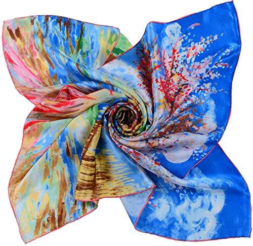 Printed Silk Square Scarf (Salutto Women Square Scarf Silk Peach Blossom Printed Pure Satin)