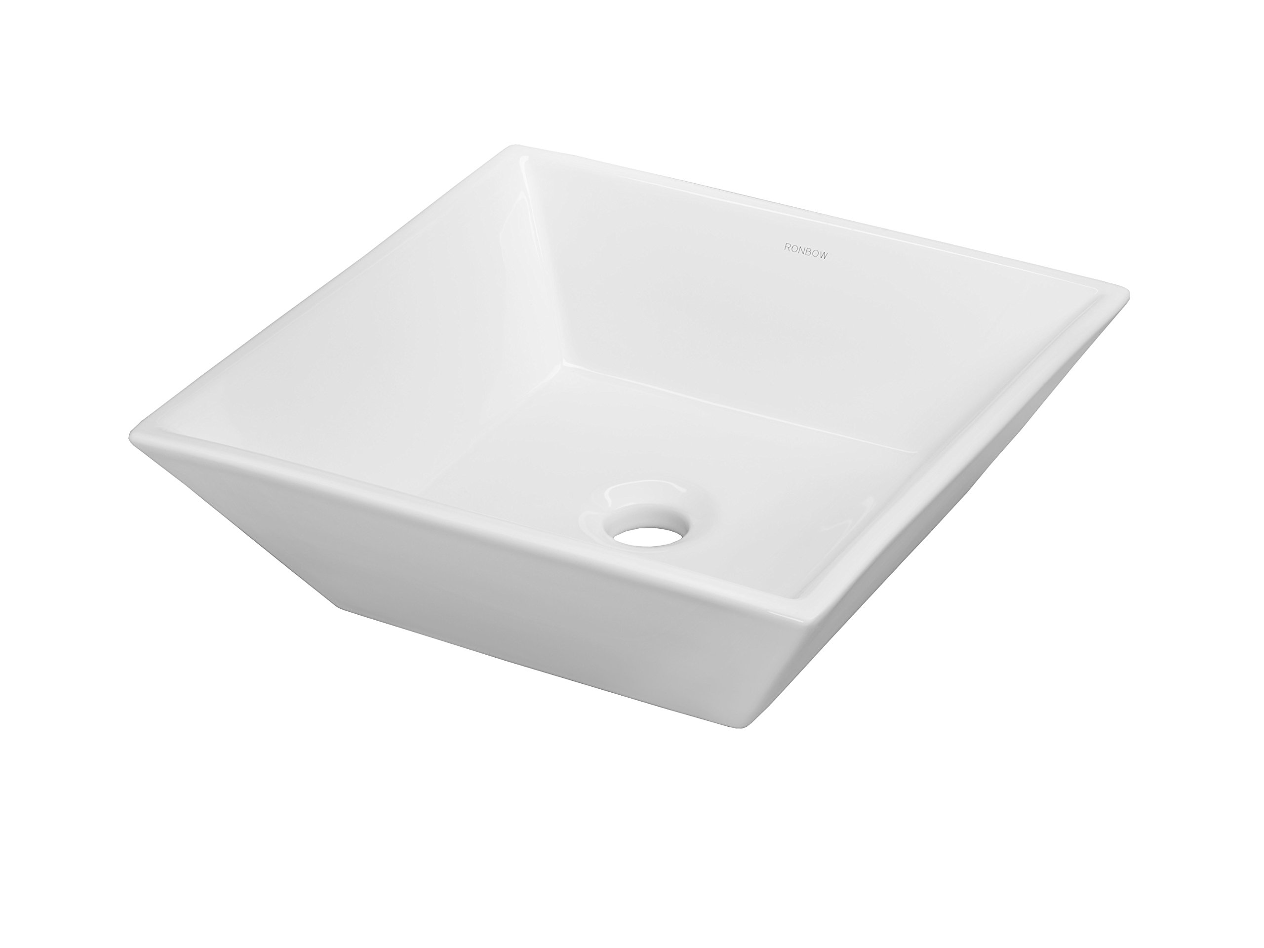 Ronbow 16 Inch Square Ceramic Vessel Bathroom Sink without Overflow 200005-WH
