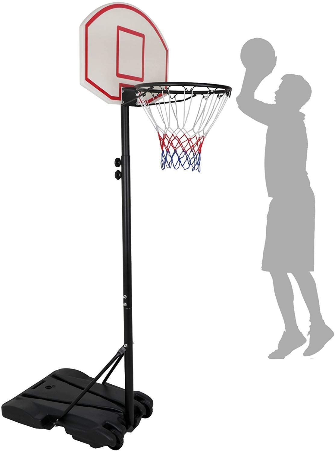 HomGarden Mini Portable Basketball Hoop Stand for Kids Juniors 8 ft Adjustable Height Backboard Starter Basketball System w/Wheels Indoor Outdoor