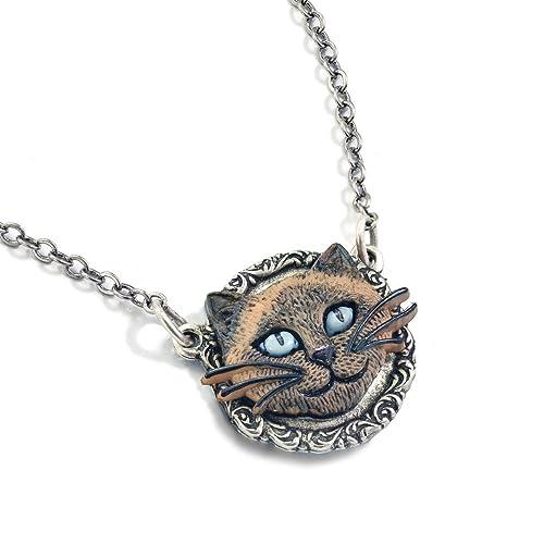 Amazon.com: Plata collar con colgante de gato siamés, Animal ...