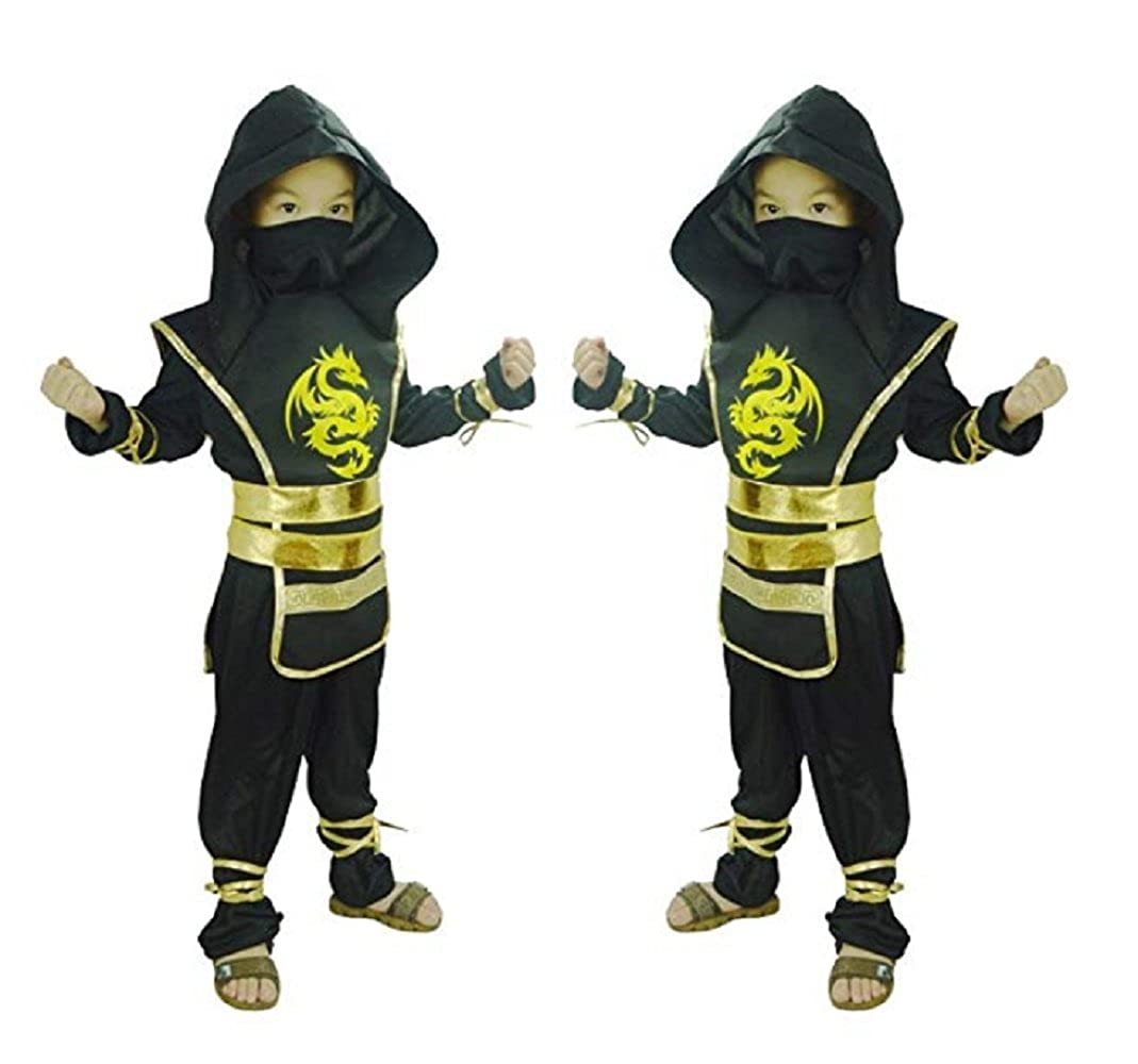 Peachi Ninja Costume for Kids Boy Halloween Costume Cosplay Party Virtual Fighter Mortal Combat Ninja 4-12