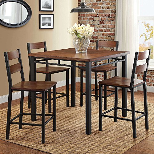 Counter Height Dining Set Table And 4 Chairs, Durable Metal Construction, Square Shape, Footrest, Ideal For Family Gathering And Evening, Kitchen, Oak Finish + Expert Guide ()