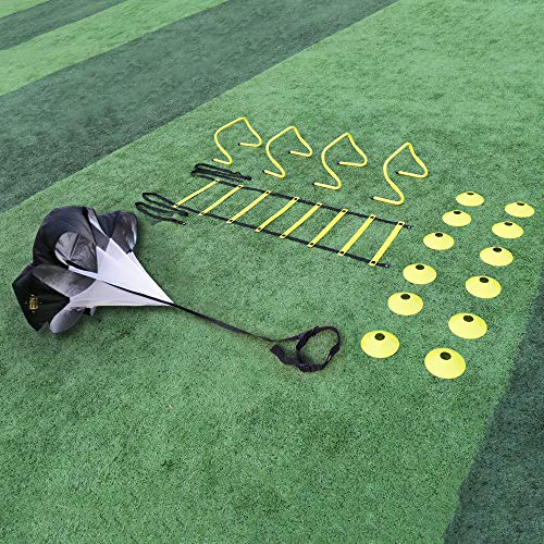 (A11N Speed & Agility Training Set- Includes 1 Resistance Parachute, 1 Agility Ladder, 4 Steel Stakes, 4 Adjustable Hurdles, 12 Disc Cones, and a Drawstring Bag | Training Equipment for All Sports)