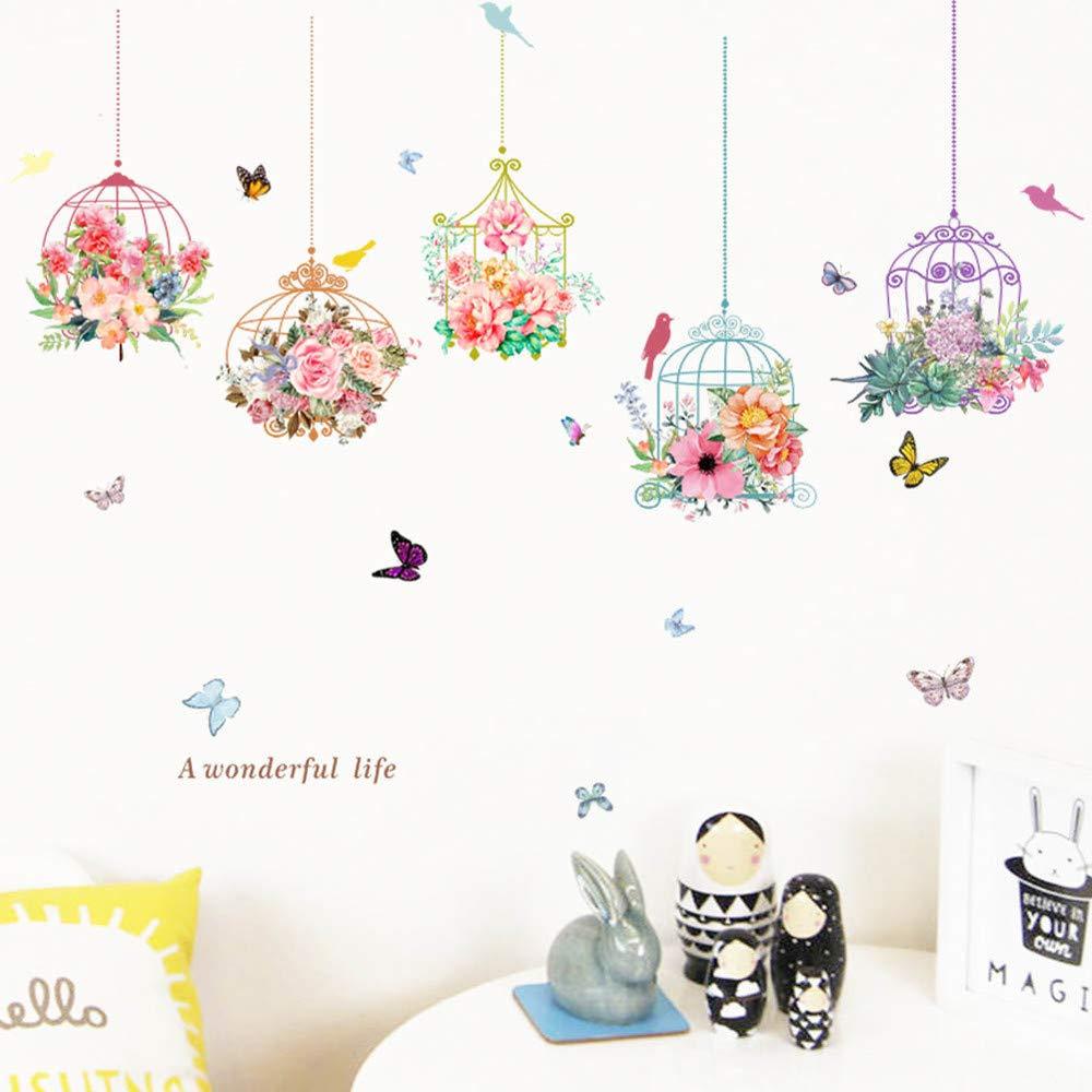 Jaula y Flores Pegatinas de pared vinilo adhesivo decorativo para ...