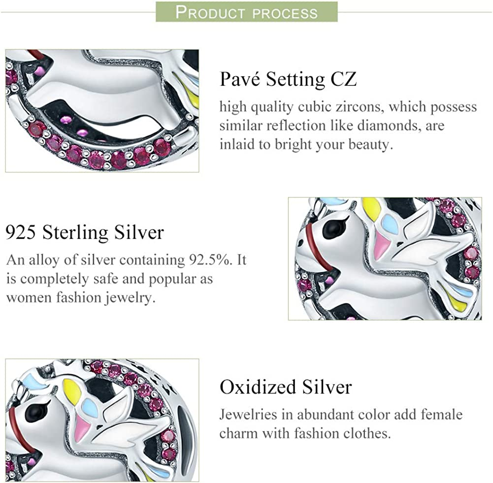 Everbling Colorful CZ Unicorn 925 Sterling Silver Bead Fits European Charm Bracelet