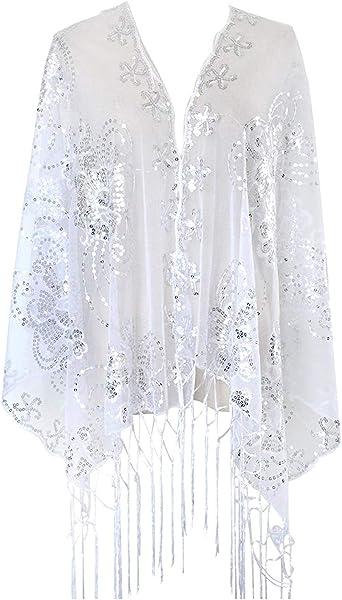 Violet keland Femmes 1920s Belle /Étole Ch/âle Wrap Brillante /Écharpe C/ér/émonies Soir/ée F/êtes Mariage C/ér/émonie Cocktail