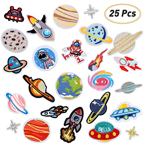 Iron On Patches 25 Pcs Embroidered Patches Cloth DIY Creative Planet Motif Applique Kit Assorted Size Decoration Sew On Patch for Jackets, Backpacks, Jeans, Clothes