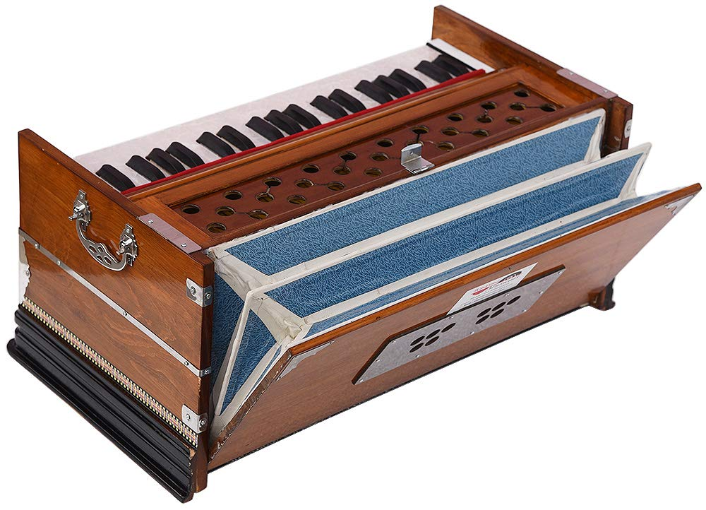 Harmonium Eco Model By Kaayna Musicals, Brown Colour, 7 Stops- 2 Drone, 3¼ Octaves, Gig Bag, Bass/Male Reed Tuned- 440 Hz, Best for Peace, Yoga, Bhajan, Kirtan, Shruti, Mantra, etc by Kaayna Musicals (Image #3)