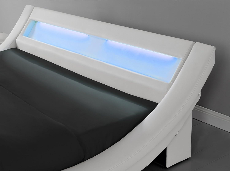 Cadre de Lit LED en Simili et sommier 160 x 200 cm JFB Le Laurine Blanc