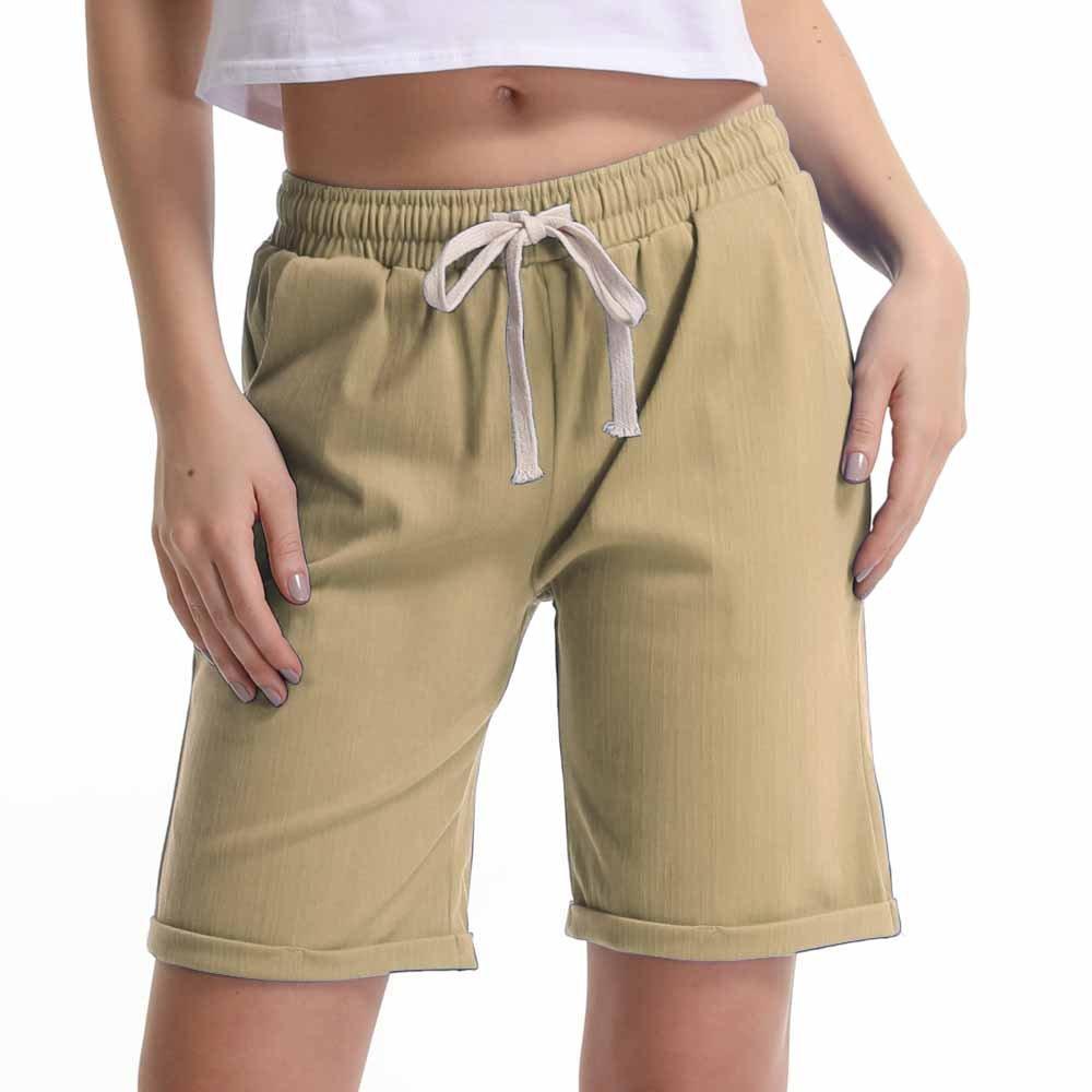 Women's Elastic Waist Cotton Linen Casual Knee Length Bermuda Shorts Khaki Tag XL-US 8