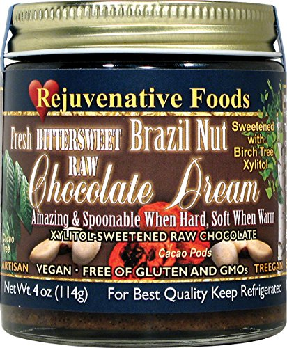 (Xylitol-Sweet Organic Raw Chocolate Brazil-Nut Dream Pure Fresh Nutritional Dairy-Free Antioxidants StoneGround white-sugar-free fudge candy-in-glass-jar Minerals Rejuvenative Foods-9 oz)