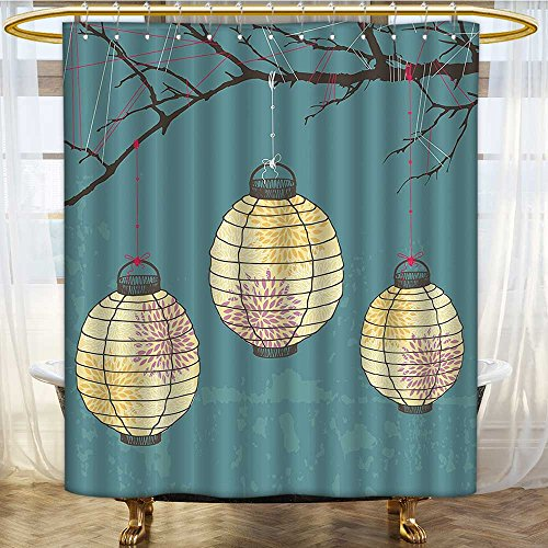Mikihome Shower Curtains Fabric Extra Long Three Paper Hanging on The Branches Lighting Fixture Source Bathroom Accessories W54 x H72 inch