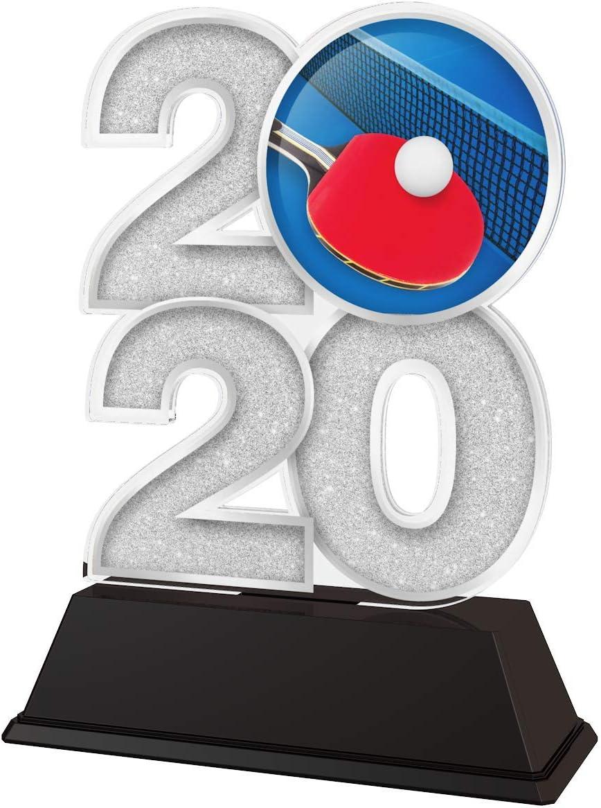Trophy Monster 2020 - Trofeo de Tenis de Mesa (Oro, Plata o Bronce) | Hecho de acrílico Impreso, 120 mm