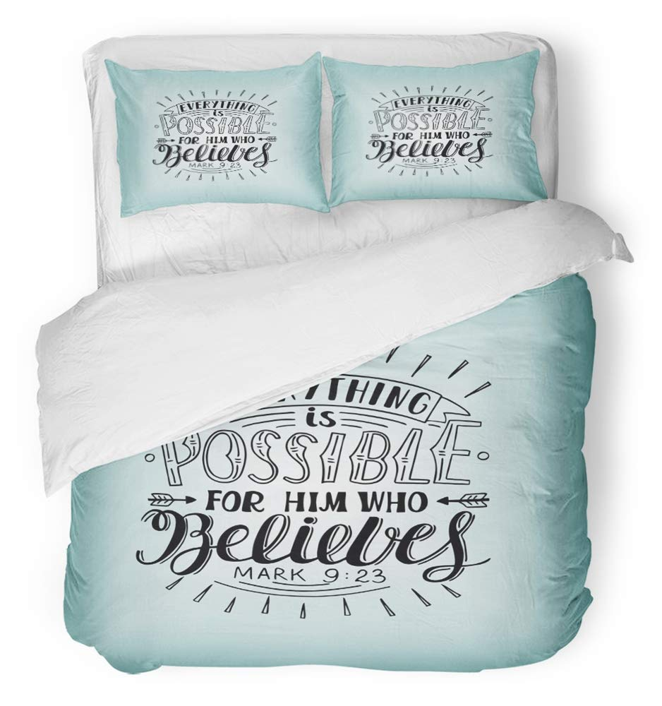 Emvency 3 Piece Duvet Cover Set Breathable Brushed Microfiber Fabric Hand Lettering Everything is Possible for Him Who Believes Christian New Bedding Set with 2 Pillow Covers Full/Queen Size