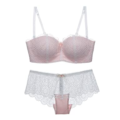 f94cf849c29 Varsbaby Women Half Cup Embroidery Bras with Panties Underwear Sets   Amazon.co.uk  Clothing